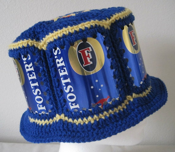 Crocheted Beer Can Hat - Foster's