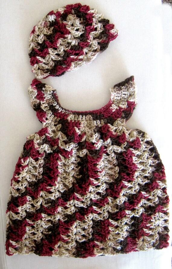 Crocheted  Toddler Girl's Pinafore and Hat Set - Cherry Chocolate Swirl