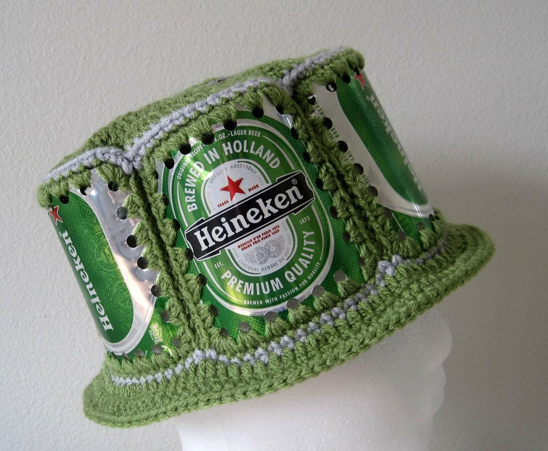 Crocheted Beer Can Hat Heineken