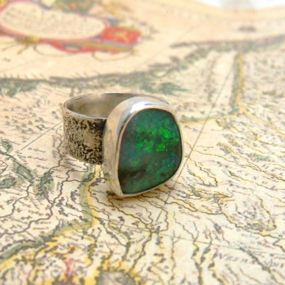 Blue Boulder Opal Ring with Wide Silver Reticulated Band