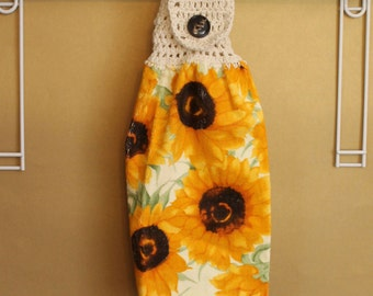 Sunflower Patch Crocheted Top Towel-KOE41