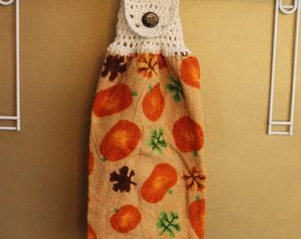 Pumpkins and Leaves Crocheted Top Towel-KOE33