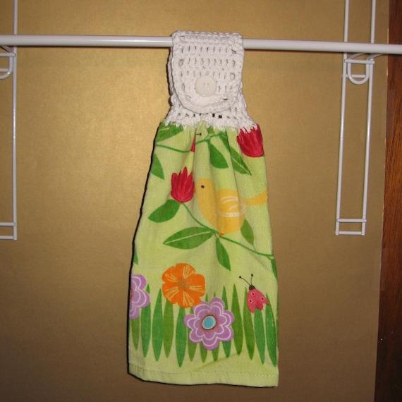 Yellow Bird and Ladybugs Among the Flowers Crocheted Top Towel-KOW34