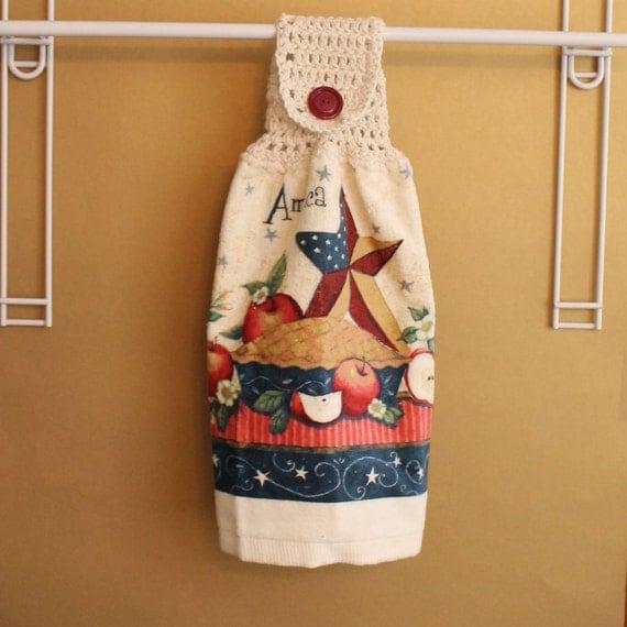 American as Apple Pie Crocheted Top Towel-KOE59