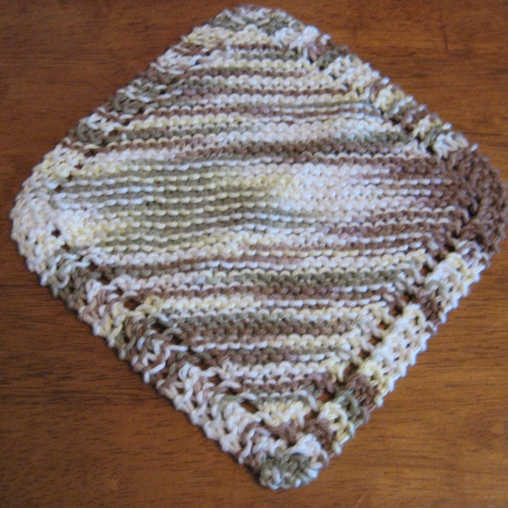 Wooded Moss Diagonal Knitted Dishcloth