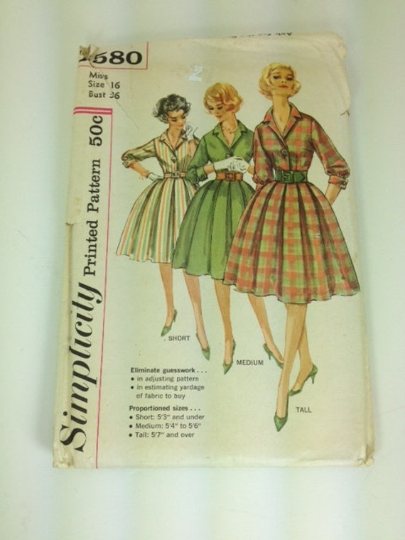 SALE 30% off 50s vintage simplicity dress pattern size 16