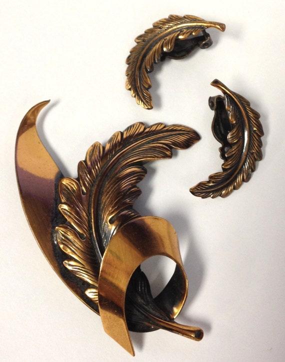 Sale! Half off Demi Parue vintage copper feather set mad men era 1960s