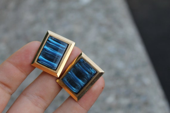 Large bold blue lucite 1960s vintage mens french cuff links mad men style