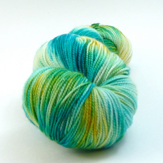 CLEARANCE - Jest Sparkle 2ply Merino/Nylon/Stellina Sock - Mango and the Salted Sea - As Seen in the August Phat Fiber Box