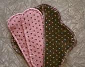 Cotton Flannel Menstrual Pads Envelope and Liner Set BROWN DOT MIX