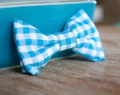 Light Blue Gingham Little Guy Bow Tie