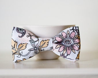 Organic Pale Pink Floral Boy Bow Tie- Child Size Clip on