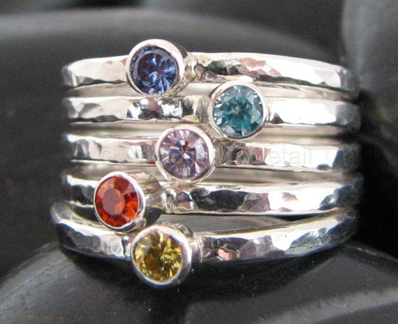 Birthstone Rings / PURCHASE ANY 5 CUBIC ZIRCONIA STACKED RINGS AND SAVE / Handmade Silver Rings sizes 4 thru 8 / Mothers Ring