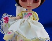 Blythe Dal Hujoo New  Ribbon Embroidered Tatted Handkerchief Frock  Lovely  Chris