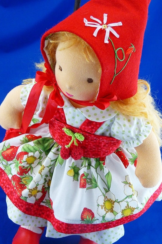 """Waldorf    """"Strawberry Pixie"""" 5 Pc Ensemble  for 13 to 15 inch doll.Darling Chris"""