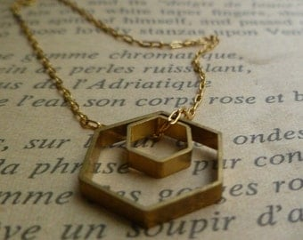 Double Hexagon Necklace, Two Brass Hexagons on a thin long gold fill chain