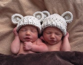 Crochet Baby Hat, Crochet Hat with Ears, Set of Two,  0-3 months, Baby Girl, Baby Boy, Baby Hats, Custom Color Choices, MADE TO ORDER