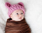Baby Girl, Crochet Baby Hat with Ears, Girls Crochet Hat, Baby Girl Hat, Baby Hat, Newborn Hat, 0-3 months, Dusty Rose, MADE TO ORDER