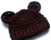 Baby Hat with Ears, Crochet baby Hat, Newborn Hat, Adorable Crocheted Hat with Ears, Animal Hat, Chocolate Brown, MADE TO ORDER