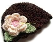 Crochet Baby Girl Hat, Crochet Toddler Hat, Crochet Hat with Flower, Girls Summer Hat, Winter Hat, Brown,  Cream,  Pink, MADE TO ORDER