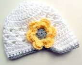 Crochet Baby Hat, Crochet Visor Beanie Hat, White, Light Yellow and Gray, READY TO SHIP in a size 0-3 months
