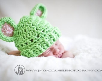 Crochet Baby Hat with Ears, Baby Girl Hat, Baby Hat, Teddy Bear Hat, Crochet beanie hat, Infant Winter Hat, Lime Green, Pink, MADE TO ORDER