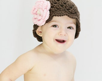 Baby Girl Hat, Crochet Baby Hat, Newborn Crochet Hat, Chocolate Brown, Pink, Infant Winter Hat, Baby Girl, Summer Hat,  MADE TO ORDER