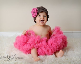 Crochet Baby Hat,  Baby Girl Hat, Toddler Crochet Hat, Brown and Pink Crochet Hat, Cotton Baby Beanie, Baby Girl, Crochet Hat, MADE TO ORDER