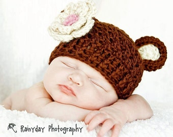 Baby Hat, Baby Girl Hat, Newborn Crochet Beanie Hat with Bear Ears and Flower, Baby Animal Hat, Chocolate Brown, Oatmeal, Pink-MADE TO ORDER