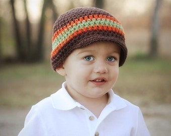 Boys Crochet Hat, Crochet Hat, Baby Boy Hat, Boys Hat, Crochet Hat, Visor Hat, Boys Winter Hat, Beanie, MADE TO ORDER, Brown, Sage, Orange
