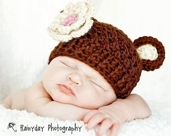 Baby Girl Hat, Crochet Baby hat with Ears and Flower, Bear Hat, Crochet Animal Hat, Baby, Chocolate Brown, Oatmeal, Pink,  MADE TO ORDER