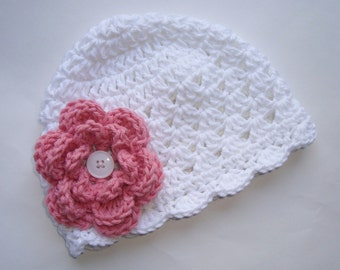Crochet Baby Hat, White and Rose Pink, 100 Percent Cotton, Toddler Beanie Hat, MADE TO ORDER