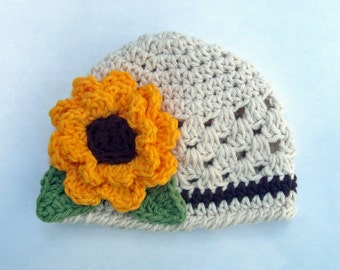 Crochet Sunflower Cotton Beanie Hat for Infant/Toddler/Girls-MADE TO ORDER