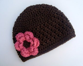 Baby girl Hat, Crochet Baby Hat, Newborn Crochet Hat, Summer Hat, Crochet Cotton Beanie Hat, Chocolate Brown and Rose Pink, MADE TO ORDER