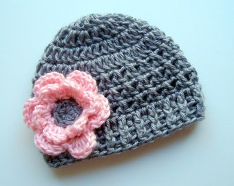 Crochet Baby Hat,  Newborn Crochet, Toddler Crochet Hat, Baby Girl, Infant Winter Hat, Gray and Pink Hat, Baby Girl, Crochet Hat for Girls
