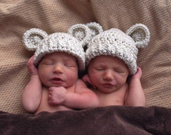 Baby Hat, Baby Boy, Baby Girl, Crochet Baby Hats, Infant Crochet Hat with Ears, Set of Two, 0-3 months, Animal Hat, ON SALE, Made to Order