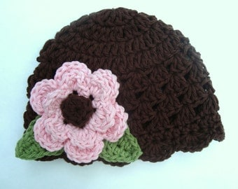 Baby Girl Hat, Crochet Baby Hat, Newborn Hat, Girls Crochet Beanie Hat for infants, newborn, toddlers, Brown and Pink, MADE TO ORDER