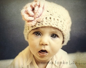 Baby Girl Hat,  Toddler Crochet Hat, Newborn Hat, Girl Crochet Hat, Baby Hat, Crochet Baby Girl Hat, Toddler Crochet Hat, Pink and Beige