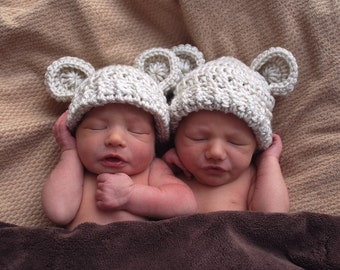 Crochet Baby Hat, Set of Two,  Crochet Baby Hat with Ears, Newborn Hat, Twins Hats,  Hat with Ears, Baby Girl, Boy, 0-3 month, Made to Order