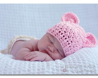 Baby Hat, Baby Girl Crochet Hat, Crochet baby hat with Ears, Light Pink Baby Hat, MADE TO ORDER