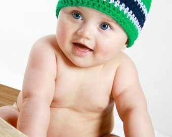 Baby Boy Hat, Boys Crochet Beanie Hat, Boys Skullcap, Kelly Green, Baby Blue and Navy,  Boys Crochet Hat, Crochet Hat, MADE TO ORDER