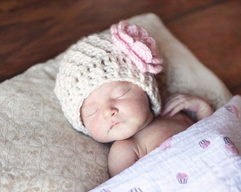 Baby Girl Hat, Crochet Baby Hat, Crochet Baby Beanie Hat With Flower, Baby Girl Hat, Winter Hat, custom MADE TO ORDER in your size request