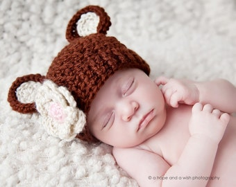 Newborn Crochet Beanie Hat with Bear Ears and Flower, Baby Girl Hat, Crochet Baby Hat with Ears, Chocolate Brown, Beige, Pink, MADE TO ORDER