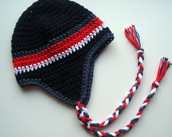 Boys Cotton Crochet Earflap Beanie Hat with Ties, Baby Boy Hat, Baby Girl Hat. Made in Your Color Choices, MADE TO ORDER