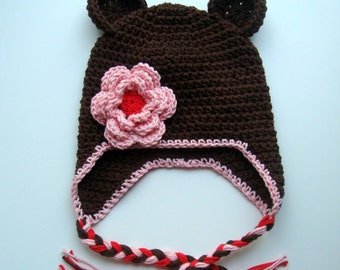Girls Crochet Hat, Baby Girl Hat, Crochet Earflap Hat, Crochet Hat with Ear Flaps, Custom Made in Your Color and Size Choices, MADE TO ORDER