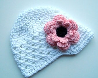 Infant/Toddler Girls Crochet Visor Beanie-White, PInk, Black-MADE TO ORDER