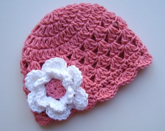 Crochet Baby Hat, Baby Girl Hat, Toddler Crochet Hat, Crochet Toddler hat, Baby Hat, Rose Pink and White, MADE TO ORDER in your size request
