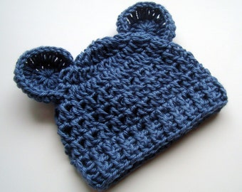 Crochet Baby Hat, Baby Boy Hat, Infant Hat, Newborn Crochet Hat, Baby Winter Hat, Newborn Winter Hat, Baby Hat, Country Blue, MADE TO ORDER