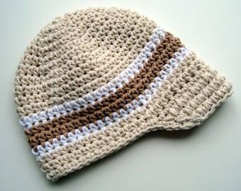 Crochet Visor Beanie Hat, Baby Boy Hat, Boys Winter Hat, Boys Crochet Hat, Boys Visor Hat, Visor Beanie, Ecru, White and Tan, MADE TO ORDER