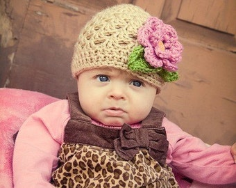 Crochet Baby Hat, Baby Girl Hat, Toddler Crochet Hat, Winter Hat, Baby Girl Beanie Hat with Flower and Leaves, Tan, Rose Pink, MADE TO ORDER